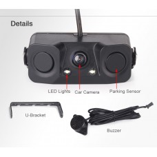 170º Car Auto Rear View Camera Reverse Parking Radar with 3 in 1 Parking Sensor